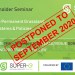 2nd Stakeholder Seminar Postponed to September 2020