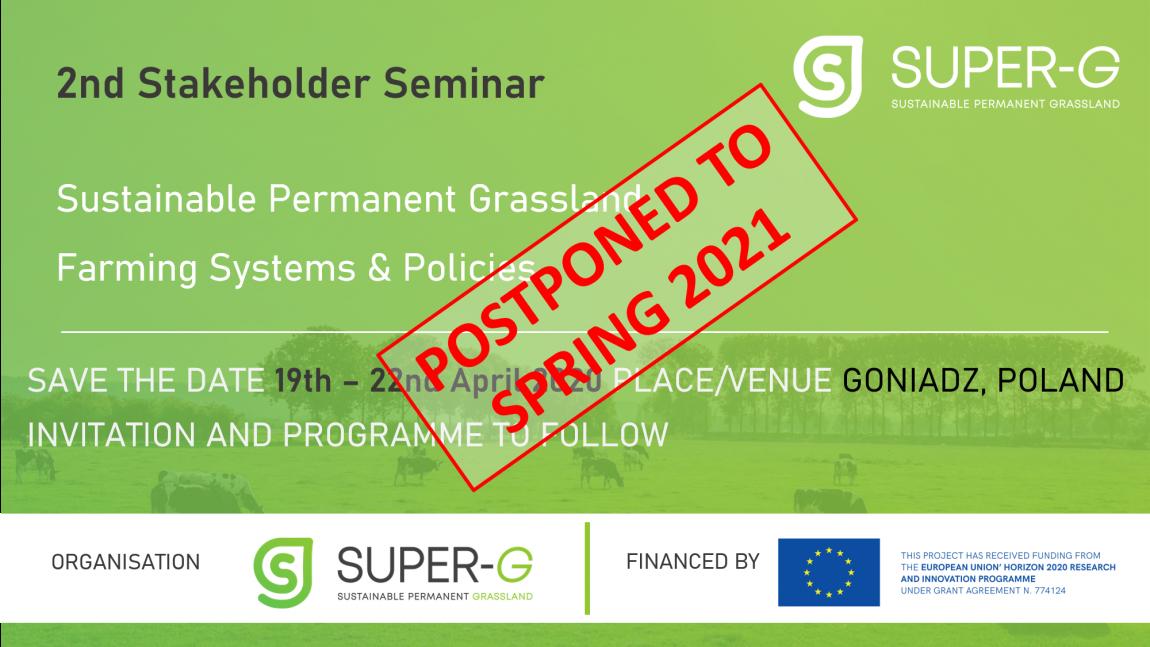 2nd Stakeholder Seminar Postponed to Spring 2021