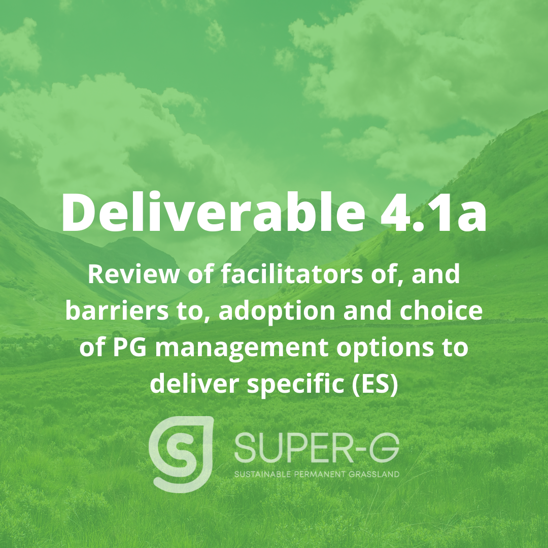 Deliverable 4.1a Review of facilitators of, and barriers to, adoption and choice of PG management options to deliver specific ecosystem services (ES)