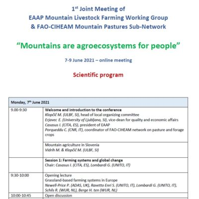 1st Joint Meeting of EAAP Mountain Livestock Farming Working Group & FAO-CIHEAM Mountain Pastures Sub-Network